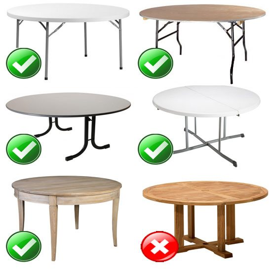 Compatibilité de nos housses te tables rondes en lycra