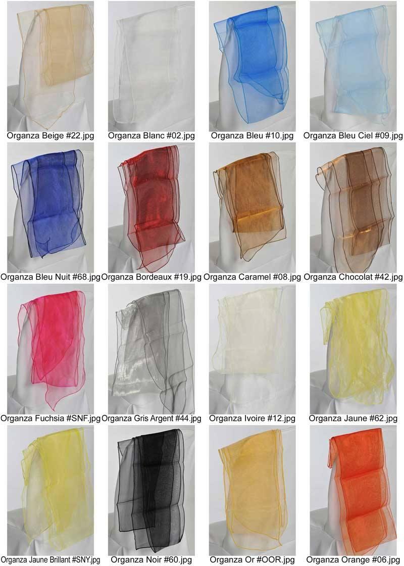 coloris organza pour ceinturages noeud