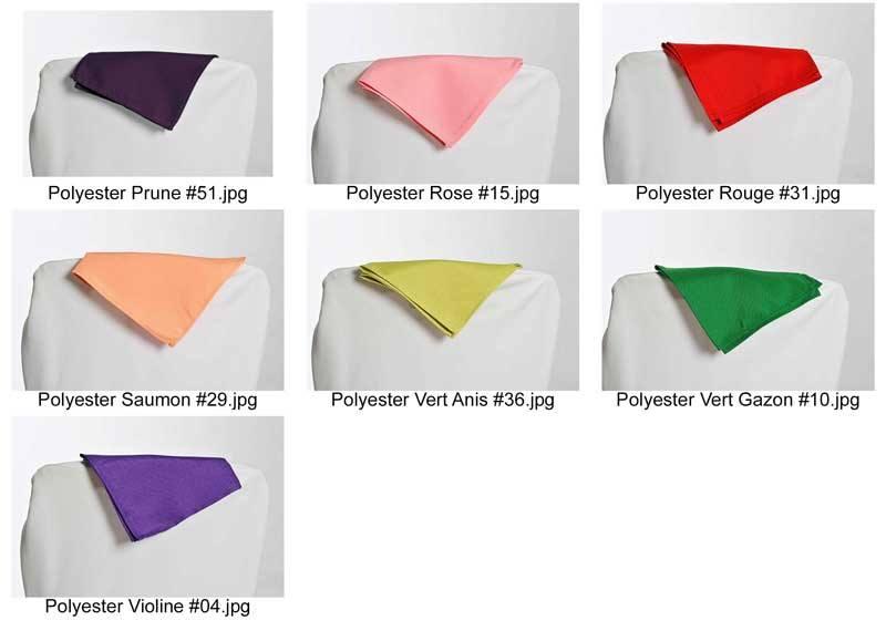 coloris polyester pour serviettes nappages housses