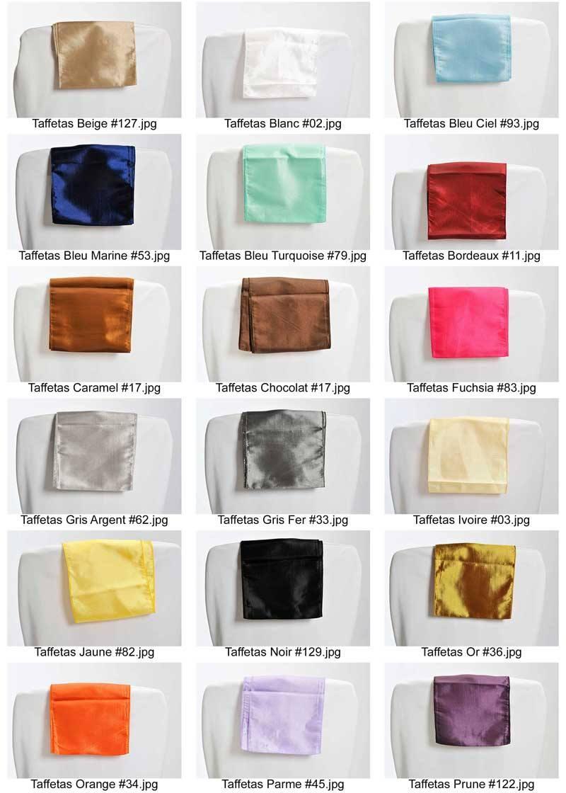 coloris taffetas pour noeud ceinturage de chaise