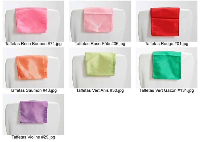 coloris taffetas pour noeuds ceinturages chaise